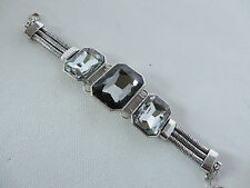 LARGE STUNNING GOTHIC STATEMENT BLING OBLONG SILVER PANEL BRACELET new boxed