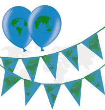 Green Earth  bunting  &  Earth Green Printed Latex Balloons pack of 10
