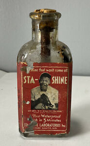 Antique Sta-Shine Black Shoe Polish Bottle w/ Paper Label American Terre Haute