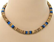 18 inch (46cm) Necklace 8mm Dia. Tiger_Blue_Black Coconut Beads SURFER HAWAIIAN