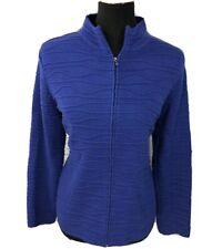 Coldwater Creek Zip Up Cardigan Sweater Jacket Faux Wool Purple Sz Medium 10 12