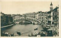 Venice Ponte di Rialto postcard - nice back design (Attilio Scrocchi) 1910s
