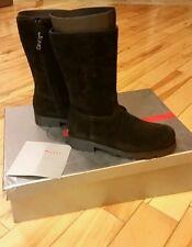 Prada Nero Black Girls Suede Girls Zipper Boots 31/eu 1/us