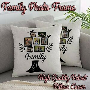 Personalised Collage Family Tree Picture Custom Velvet Cushion Cover Pillow Case