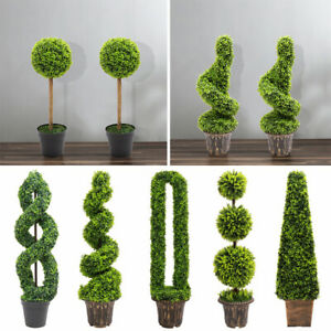 Realistic Potted Topiary Tree In/Outdoor Garden Artificial Plant Bush Boxwood