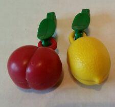 Vintage German Fruit Plastic Clip On  Plum & Lemon Jewelry Charms Metal Weighted