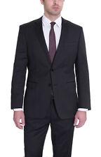 Mens 44L DKNY Skinny Black Pinstriped Wool Suit 44L 38W