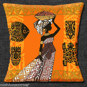African Tribal Lady Cushion Cover 16x16 40cm Fish Fruit Basket Ethnic Orange