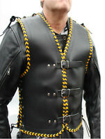 MOTORCYCLE CLUB BUCKLE VEST 3MM THICK COWHIDE LEATHER BLACK AND YELLOW BRAIDING