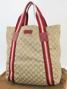 Authentic GUCCI Beige GG Canvas and Red Leather Tote Hand Bag Purse #40037