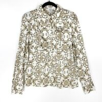 Cache Womens Button-Up Shirt Ivory Brown Damask Long Sleeve Collared Stretch L