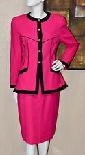 DAVID HAYES Haute Couture 2pc Wool Jacket Skirt Suit Size 10