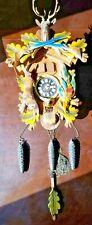 Vintage West German Black Forest Cuckoo Clock Multi Color Carved Wood Deer Head