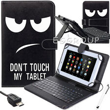 """NEW For Amazon Kindle Fire 7"""" 5th Gen 2015 Leather Micro USB Keyboard Case Cover"""