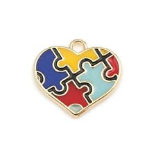 Charm Autism Awareness Jigsaw Enamel Pendant Gold Plated Pack of 4