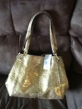 Michael Kors Raven embossed leather tote (gold)