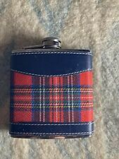 New listing Flask Stainless Steel Six Oz Red And Black Leather