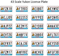 YUKON LICENSE PLATE DECALS FOR 1:43 SCALE CARS