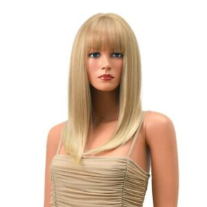 16inch Cosplay wig with bangs Synthetic hair Fashion Ash Blonde Full Head
