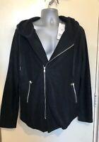 Mens Berry Denim Jacket Hoodie Hooded Black Size XL
