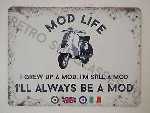 Mod Life Retro Scootering Lambretta Vespa Piaggio Scooter Gift Small Tin Sign