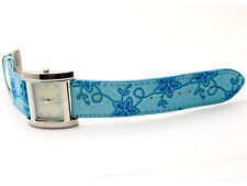 CHARLES DELON: WOMENS' TURQOISE BLUE EMBROIDED LEATHER BAND ANALOG QUARTZ WATCH