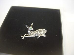 STUNNING VERY OLD SOLID SILVER BEAUTIFUL MARCASITE BAMBI BROOCH STUNNING DETAIL