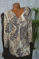 Kleid Freizeitkleid Party Volant knielang Tigermuster langarm beige braun 36