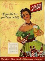 1954 Schlitz Beer Barn Dance Pretty Girl in Fashion Dress Artwork PRINT AD