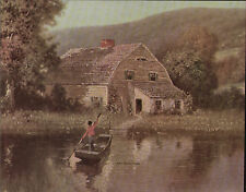 Large Island Home On The Lake Boat Ride Home Vintage c1940 Antique Art Print