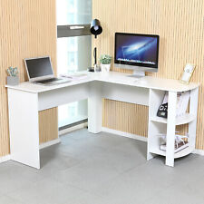 White L-shaped Computer Desk Corner PC Table Workstation Home Office w/ Shelves