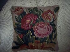 Completed Floral Handmade Needlepoint Pillow