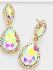 "1.6"" Aurora Borealis AB Austrian Crystal Pageant Bridal Earrings Formal Gold"