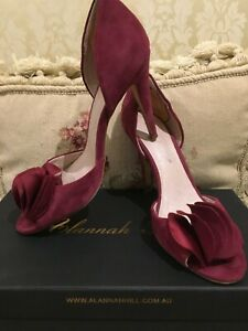 GLORIOUS ALANNAH HILL S38 LEATHER BURGUNDY SUEDE RRP$270
