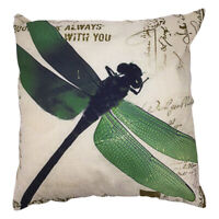 EE_ Vintage Green Dragonfly Square Linen Pillow Sofa Cushion Cover Case Decor Pr