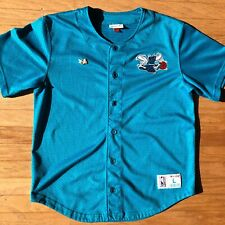Charlotte Hornets NBA Mitchell & Ness Baseball Jersey With Vintage Lapel Pin