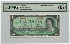 """1967 Bank of Canada $1 Note BC-45a PMG Gem UNC 65 EPQ """"Centennial Issue"""""""