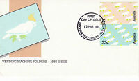 AUSTRALIA 13 MARCH 1985 VENDING MACHINE FOLDERS OFFICIAL FIRST DAY COVER SHS
