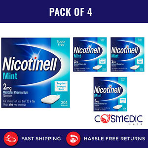 4 x Nicotinell 2mg Mint Flavour Sugar Free 204 Piece Each pack Total 816 pieces