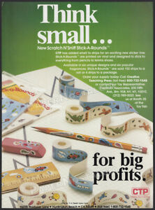 CTP Stickers__Original 1984 Trade AD / ADVERT__Scratch N' Sniff Stick-A-Rounds