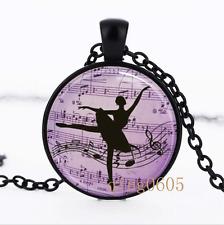 Ballerina Necklace photo Glass Dome black Chain Pendant Necklace wholesale