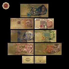 Wr Italia Colore Oro Banconote Set 7 Pcs 1000-500000 Lire da Collezione Festa