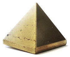 PYRAMID - IRON PYRITE 26-30mm Crystal w/Description & Pouch- Healing Reiki Stone