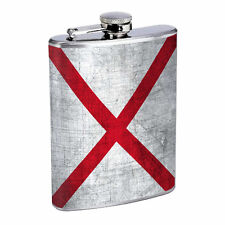 Alabama Flask D1 8oz Hip Stainless Steel State Flag Drinking Whiskey Liquor