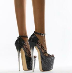 Women High Heels Pumps Stiletto Peep Toe Sandals Nightclub Ankle Strap Shoes 42