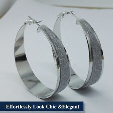 925 Sterling Silver Plated Precised Frosted Jewelry Glittered Round Hoop Earring