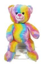Build a Bear Rainbow Sherbet Striped Pastel Tie Dye Plush Bear