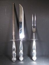 Amston Sterling 3Pc Carving Set Knife Fork & Sharpener Unknown Pattern