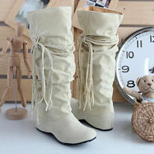 Fashion Women's Cowboy Boots Casual Lace Up Chunky Heel Knee High Boots New Size