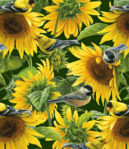 Sunflowers and Birds  David Textiles  Quilting Fabric 1/2 Yard